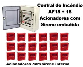 Central De Incêndio Af18 + 18 Quebra Vidro