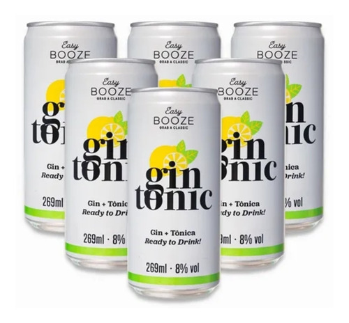 Imagem 1 de 3 de 6x Drink Pronto Easy Booze Gin+tônica 269ml