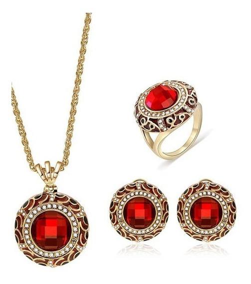 Hermoso Set Collar Aretes Cristal Rojo Fiesta Envio Gratis