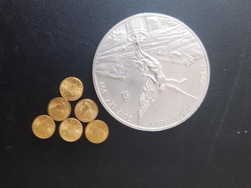 Imagen 1 de 5 de 6 Monedas De 1g Oro 24k Y Onza De Plata De Regalo