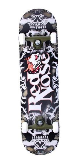 Skate Skateboard Caveira Maple Abec-5 Red Nose