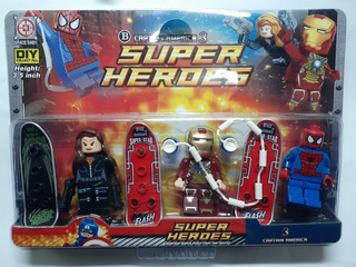 Lego Tipo Roblox Simil Súper Heroes Marvel Set X 3 Figuras