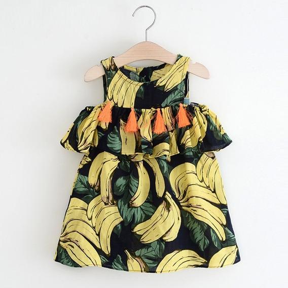 Roupas Meninas Infantil Vestido Tropical Luxo Franja Laço