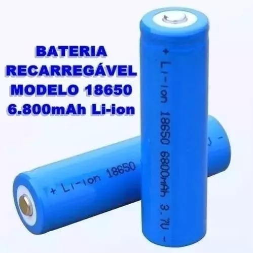 Bateria Recarregável Pilha 6800mah Lítio3.7v Lanterna Tática (02 Unidades)