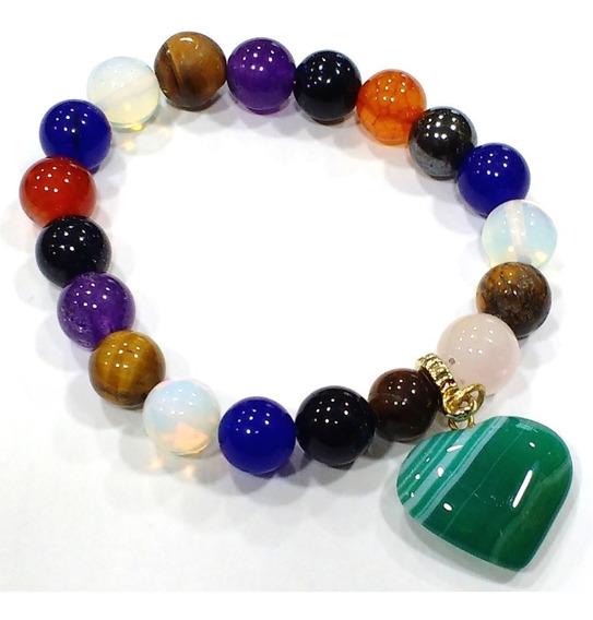 Pulseira Esferas De Pedras Naturais Sortidas Ótima Qualidade