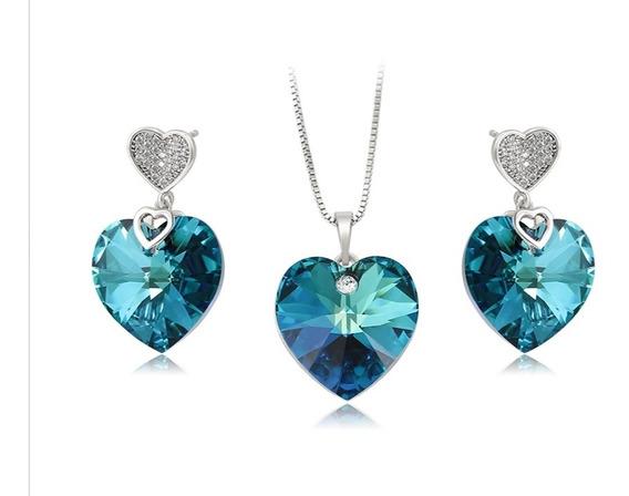 Set De Corazón De Piedra Swarovski