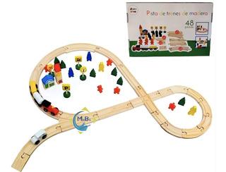 Pista Trenes Madera Didactica Vagones Imantados 48 Pz Niños
