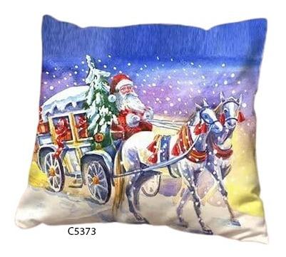 Capa De Almofada Com Papai Noel E Cavalos C5373