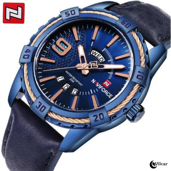 Relógio Naviforce 9117 Analógico Aço Inox - Original!!! Azul