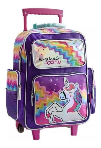 Mochila Unicornio Carro Grande 18 Led Violeta O Fucsia