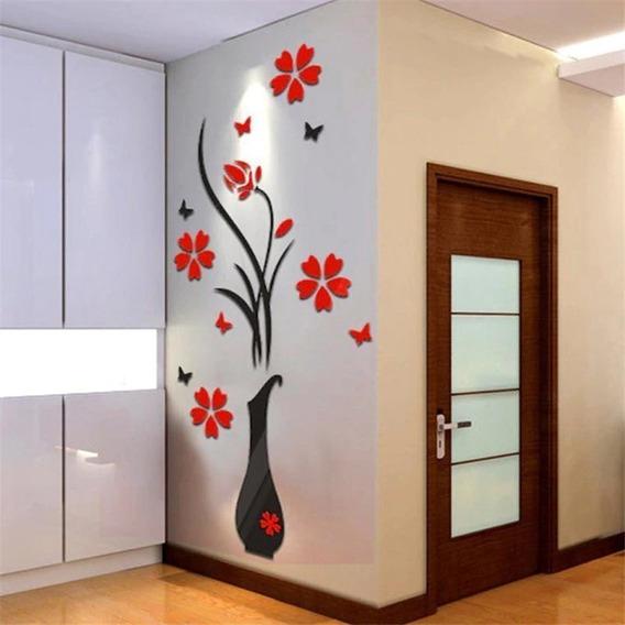 Adesivo Decorativo De Parede Flores Vermelhas Borboletas