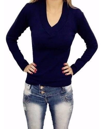 Blusa De Frio Casaco Cardigan Lã Trico Liso Gola V