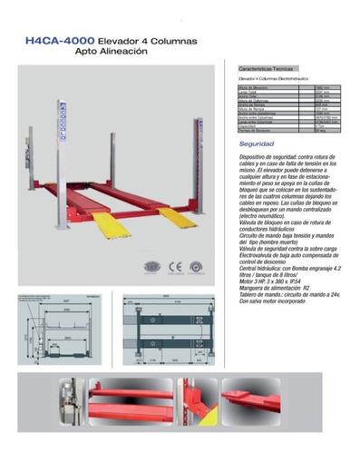 Elevador De Autos Y Camionetas 4 Columnas P/ Alineacion 4ton