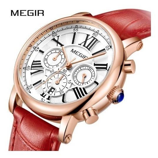 Relógio Feminino Original Megir 2058 Red