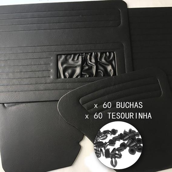 Jogo Papelão Revestimento Forro De Porta Fusca Com Bolsa Jogo 4 Peças Até 1977 + 60 Tesourinha + 60 Buchas