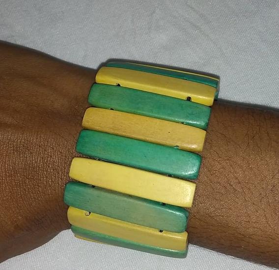 Pulseira Bracelete Em Madeira