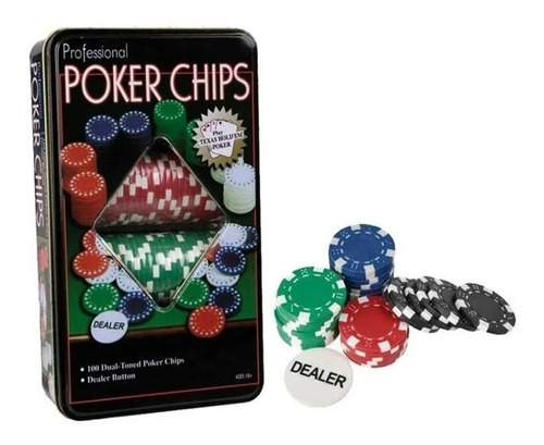 100 Fichas Póker Profesionales Casino Vip Caja Metalica