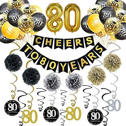 Kit De Decoración Para Fiesta De Cumpleaños 80 Trgowaul