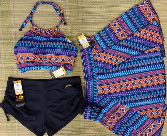 Kit Biquínis Top Cropped Sunkini E Saia - Tal Mãe Tal Filha