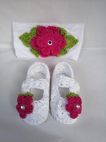 Zapatos Tejidos Tiara Para Bebé Blanco Y Fucsia