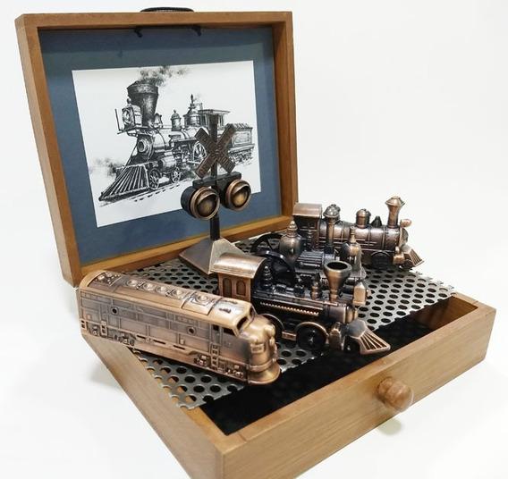 Miniaturas Decorativas De 5 Locomotivas E 1 Sinaleiro