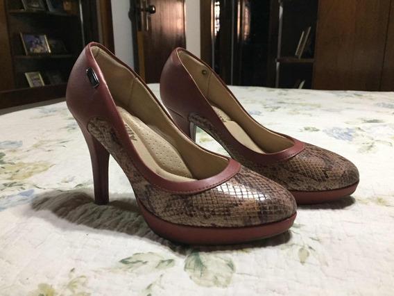 Sapato Scarpin Piccadilly Rosa Antigo Croco
