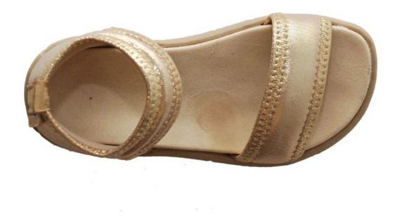 Sandalias Tiny Nena Elastizadas Dorado-plata Diez Indiecitos