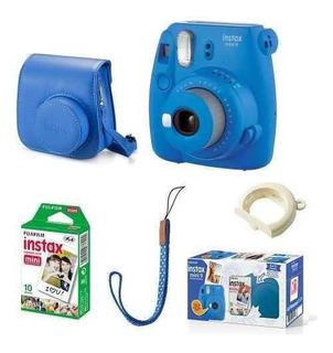 Kit Câmera Instax Mini 9 Azul +case + Filme 10 Poses