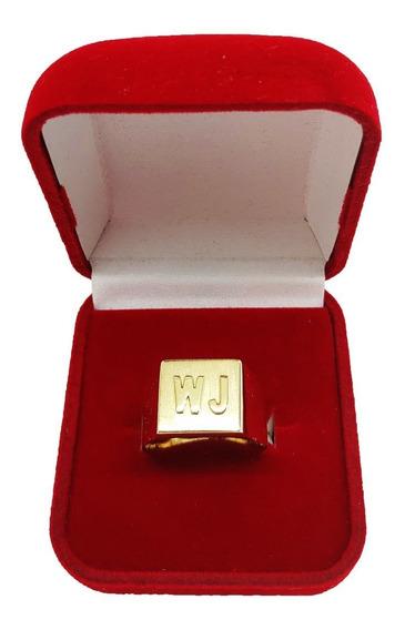 Anel Masculino Com 2 Letras Em Ouro 18kl / 750