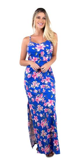 Vestido Longo Bojo Estampado Fenda Feminino Moda Festa 338