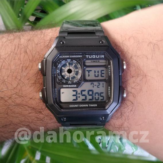 Relógio Tuguir Tg1335 - Modelo Retrô Caixa Quadrada - Preto