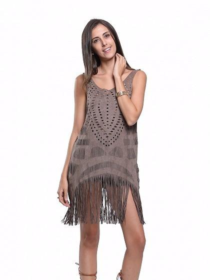 Vestido Calado Importado Flecos Fiesta Corto Mujer