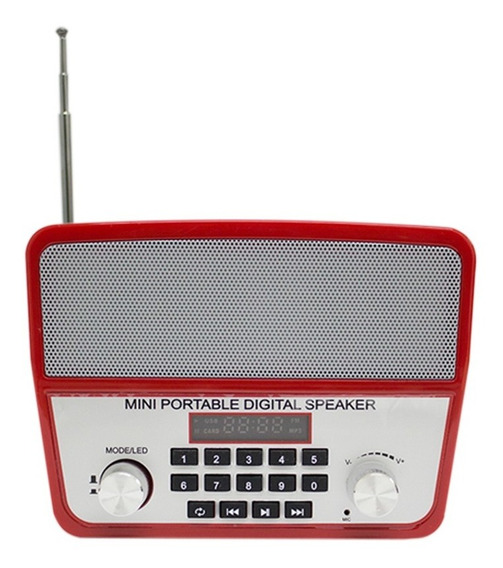 Mini Caixa Som Portátil Ws-1813 Bluetooth Usb Mp3 Radio Red