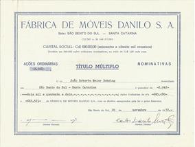 Brasil 1972 Ação Ordinária Nominativa Fábrica Móveis Danilo