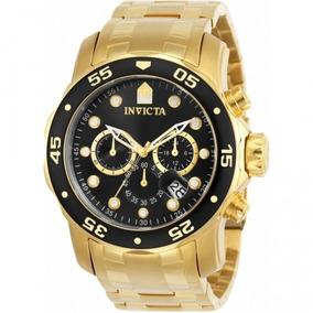 Relógio Invicta Pro Diver 0072 - Pulseira Ouro 18k, Resistên
