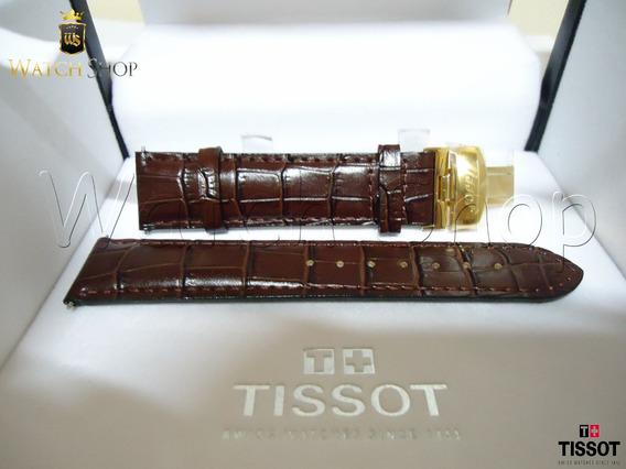 Pulseira De Couro Tissot T019 20mm Marrom Dourada Original