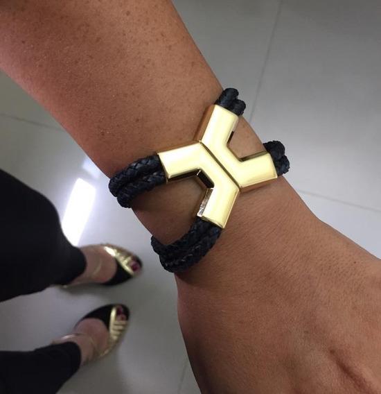 Bracelete Feminino Couro X Preto Dourado Pulseiraria Chic