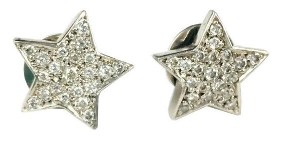 Brinco Feminino Ouro Branco 18k Estrelas Com 42 Brilhantes + Porta Joias 1113