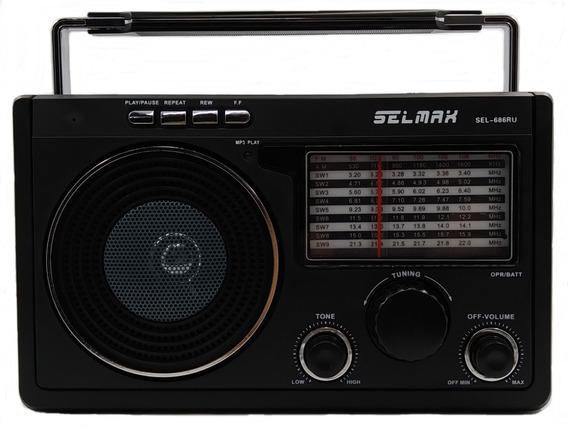 Radio Retrô Am Fm Sw Portátil Usb Recarregável E Alça 686 Ru
