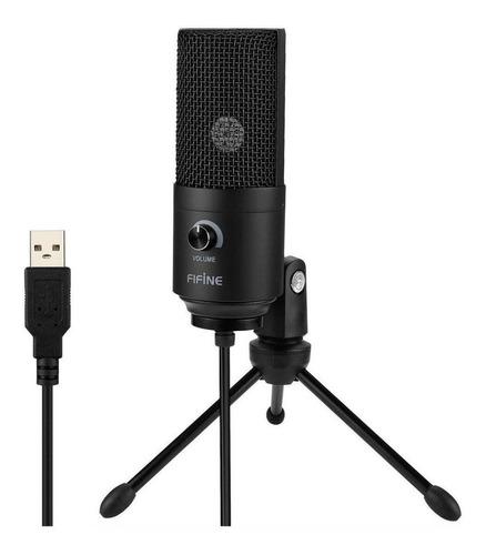 Microfone Condensador Fifine K669 Usb Preto
