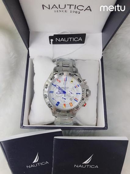 Relógio Nautica Oij9345 Chronograph N19509g Com Caixa