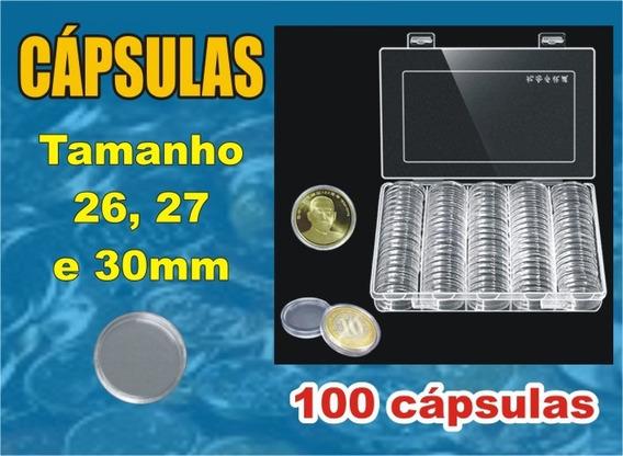 100 Cápsulas Para Moedas - 26, 27 Ou 30mm