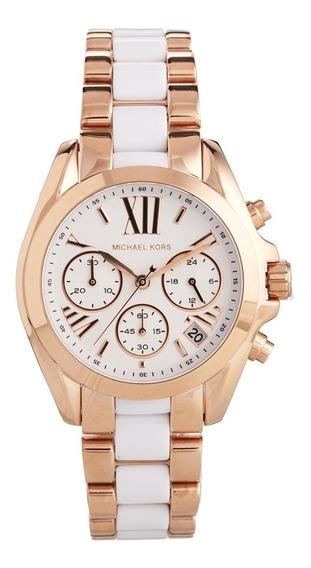 Relógio Luxo Mk5907 Bradshaw Orig Chron Anal Gold Rosé White