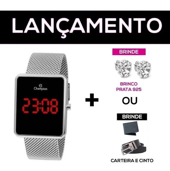 Relógio Digital Champion Quadrado Prata Nfe + Garantia