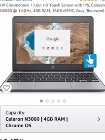 Notebook Hp Chrome Touch 11.6 In 4 Gb Ram