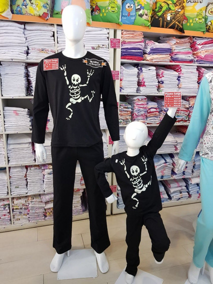 Kit Com 3 Pijamas 2 Adultos E 1 Infantil