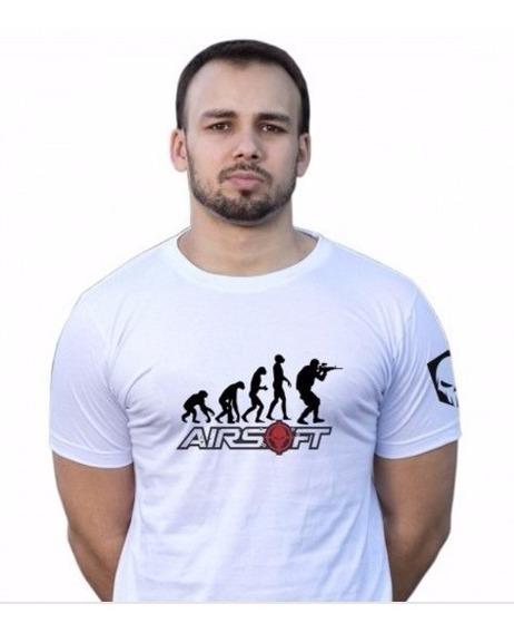 Camiseta Evolução Airsoft Branca Tática Mundo Do Militar
