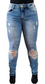 Calça Jeans Feminina Azul Clara Lança Perfume Original