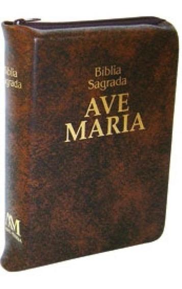 Biblia Sagrada Com Ziper Marrom Bolso - Ave Maria