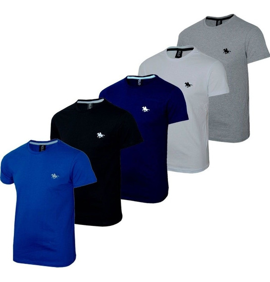 Kit Camiseta Masculina Blusa Slim Basic 5 Cores Polo